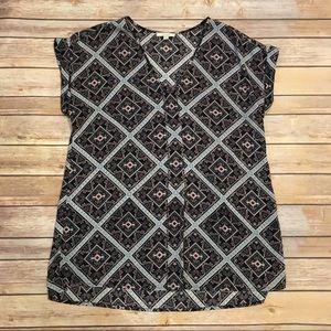 Pleione Patterned Short Sleeve Blouse, Size M
